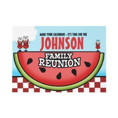 Watermelon Picnic Family Reunion Invitations