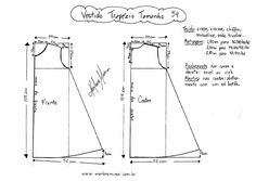 Esquema de molde de Vestido Trapézio tamanho of FREE drafted patterns. Sizes can be altered by grading. Baby Dress Patterns, Doll Clothes Patterns, Sewing Patterns Free, Sewing Clothes, Clothing Patterns, Free Pattern, Pattern Dress, Diy Clothes, Sewing School