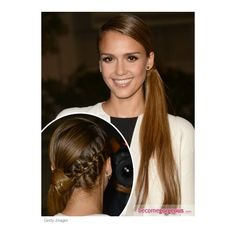 Jessica Alba's Side Pony with Braid Jessica Alba pictures ❤ liked on Polyvore