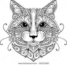 """Adult coloring page doodle flowers """"CAT"""" - Pesquisa Google"""
