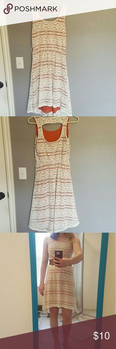 Asymmetrical Strapless Sundress Great condition! Has loops (as seen in pic 4) to be worn with a belt. Plastic hanger straps have been cut out. Asymmetrical. Adorable cut out in back. Maurices Dresses Asymmetrical
