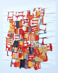 Raymond Saá  gouache, collage on sewn paper Try something like this with overlapping oil pastel or crayon shapes.