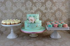 2 tier vintage rose and lace birthday cake (it was for my aunt's 80th birthday) with matching mini cupcakes and macarons
