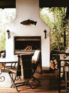 outdoor fireplace - perfect for the winter!