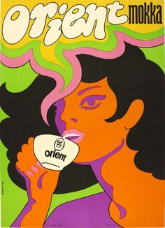 Commercial poster for the Orient coffee by Bakos Istvàn, Composition with vibrating neon colors took inspiration form the American psychedelic poster art. Coffee Poster, Coffee Art, Mocha Coffee, Coffee Shop, Psychedelic Quotes, Floral Furniture, Design Art, Graphic Design, Graphic Art
