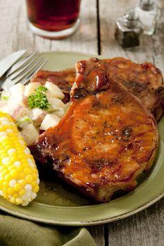 MARINATED BAKED PORK CHOPS: Soy sauce, Oil, Worcestershire sauce, Lemon juice, Brown sugar, Ketchup, Pork chops
