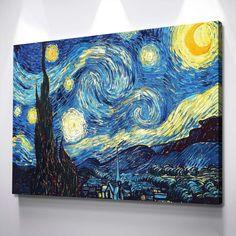 Starry Night Canvas Poster Print Van Gogh Prints The Starry Night Vincent Van Gogh Famous Painting Classic Fine Art Canvas Wall Art Print Reproduction - 1 Panel 32x24 / Gallery Wrap