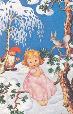 HELGA SJÖSTEDT - sulo heinola - Picasa-verkkoalbumit Vintage Greeting Cards, Vintage Christmas Cards, Christmas Images, Vintage Holiday, Christmas Greetings, Swedish Christmas, Purple Christmas, Christmas Nativity, Felt Christmas