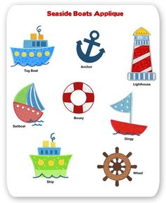 Seaside Boat Embroidery Applique Designs Sea Ocean Water Ship Sailboat Lighthouse