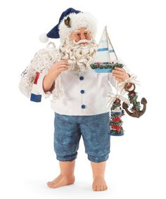 This White & Blue Nauti & Nice Santa Figurine is perfect! Tropical Christmas, Santa Figurines, How To Make Toys, Lighted Canvas, Winter Scenes, Victorian Fashion, Nautical, Plaid, Seasons