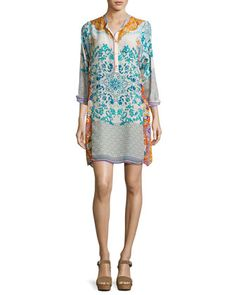 Ellyonora+Half-Placket+Floral+Georgette+Dress,+Multi+by+Johnny+Was+at+Neiman+Marcus.