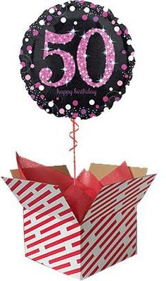 Check out our Pink Celebration Birthday Balloon Gift. Sent already inflated with helium in a large candy stripe box, it's sure to be a big surprise. Order you Birthday Balloon online or by telephone for next day UK delivery. 60th Birthday Balloons, Minnie Mouse 1st Birthday, Baby Girl 1st Birthday, Wedding Balloons, Gifts For 18th Birthday, 40th Birthday, Happy Birthday, Get Well Balloons, Mermaid Balloons