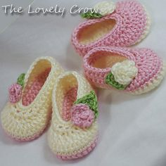 These are the ones you see all over facebook with the ribbons attached to them Ravelry: Baby Rosey Ballet Slippers pattern by Elizabeth Alan