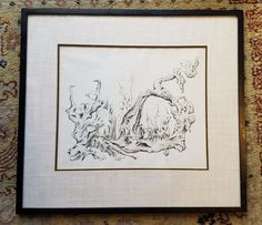 LAWRENCE KUPFERMAN EUROPEAN LANDSCAPE LIMITED EDITION DRYPOINT /50 MATTED FRAMED #Expressionism