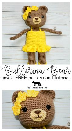 Free Crochet Bear Ballerina Pattern - The Friendly Red Fox