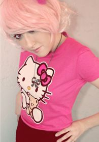 Pink Hello Kitty Tee $15 Even Hello Kitty needs a sweet teddy bear to be her best friend. Be kawaii by adding a full, tulle skirt, bows galore and lace ankle socks. You can also add edge to the classic kitty with faux leather shorts, moto boots with black lace socks peeking out and stacks of sweet rhinestone bow and chain necklaces.