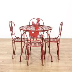 Red Iron Rooster Outdoor Patio Dining Set
