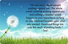 mylawofattractionlife:  Do not worry about people pushing...