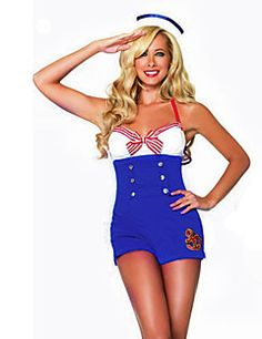 Career Costumes Sailor Navy Cosplay Costume Party Costume Womens Halloween Carnival Festival Holiday Halloween Costumes Whiteblue