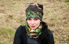"""Купить Валяная шапка """"Зеленые цветы"""" - зимняя шапка, шапка осенняя, шапка весенняя"""