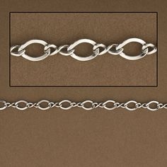 Figure Eight Rhodium over 925 Sterling silver, Wholesale Chain