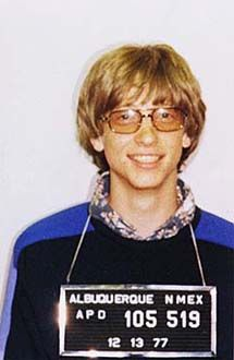 Bill Gates police mug shot- if I had posted his bail who knows what might have happened.
