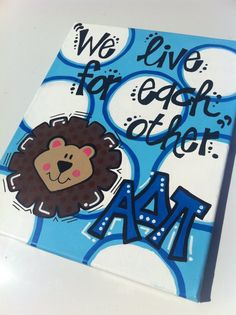 Hand-painted Greek Alpha Delta Pi  Sorority Canvas with Open Motto