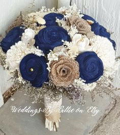 Navy Blue Sola Bouquet Blue Champagne Ivory by WeddingsByBillie – Outdoor Wedding Decorations 2019 Rustic Wedding Flowers, Flower Bouquet Wedding, Chic Wedding, Wedding Ideas, Autumn Wedding, Elegant Wedding, Spring Wedding, Blue Bouquet, Wedding Venues
