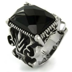 Stainless Steel Rectangle Faceted Onyx Stone Gothic Ring West Coast Jewelry. $31.95