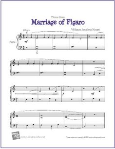 Marriage of Figaro | Sheet Music for Easy Piano Solo - http://makingmusicfun.net/htm/f_printit_free_printable_sheet_music/marriage-of-figaro-piano.htm