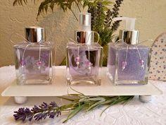 Kit lavanda Decoupage, Perfume Bottles, Wraps, Candles, Table Decorations, Gifts, Decorative Bottles, Beauty, Stone Crafts