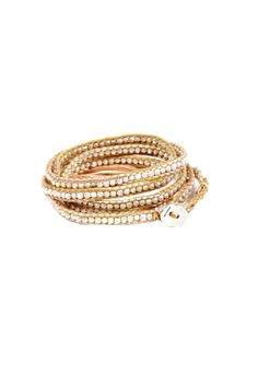 wrap gold and silver beaded bracelet