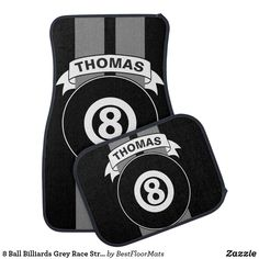 Shop 8 Ball Billiards Grey Race Stripes Personalized Car Mat created by BestFloorMats. Cool Car Accessories, Play Pool, Car Mats, Cute Cars, Floor Mats, Colorful Backgrounds, Stripes, Racing, Unisex