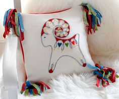 Embroidery kit for wool cushion in Swedish folk art style