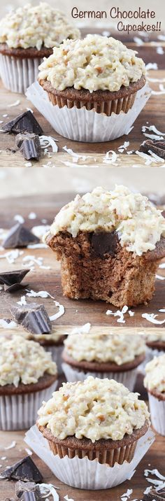 My Grandmother's German Chocolate Cake recipe turned into phenomenal cupcakes! The cake is perfectly moist and light; the ganache filling is not too sweet, and the pecan, coconut topping is sweet, creamy and flavorful! Cupcake Recipes, Cupcake Cakes, Dessert Recipes, Cup Cakes, Mini Cakes, Snack Recipes, Snacks, Cheesecake Desserts, No Bake Desserts