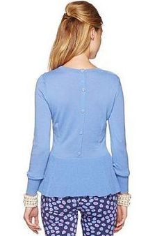Back of Lilly Pulitzer Fall '13- Aurora Sweater in Blue Bell