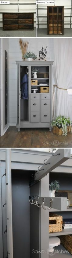 Dresser Makeover into a Mini Mudroom.