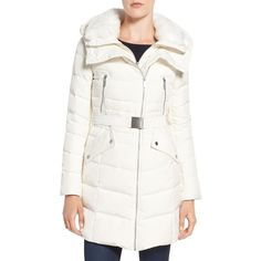Women's French Connection Down Coat With Faux Fur Trim (240 AUD) ❤ liked on Polyvore featuring outerwear, coats, winter white, dkny hooded faux-fur-trim parka coat, faux fur trim coat, hooded down coat, hooded coat and evening coat