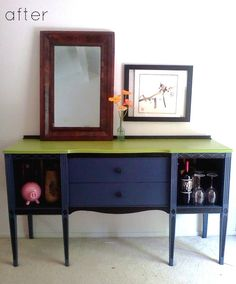 Before and after project http://www.designspongeonline.com/2011/05/before-after-console-table-upholstered-chair.html