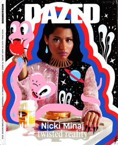 "Excited to have my Nicki Minaj doodle bomb cover as part of this show at ATM gallery in Austin Texas. ""Into You is a two day art event hosted by Molly Soda and Rachel Bell at ATM Gallery in Austin, TX. During the afternoon and evening, it will be. Magazine Illustration, Photo Illustration, Graphic Design Posters, Graphic Design Inspiration, Game Design, Dazed Magazine, Cool Magazine, Magazin Covers, Illustrator"