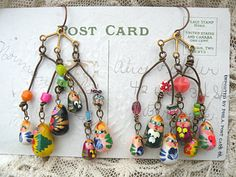 mobil doll charm earrings whimsical assemblage by lilyofthevally
