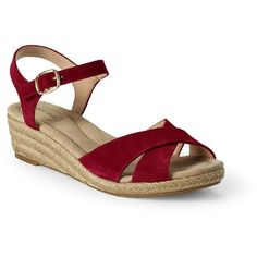Lands' End Women's Reese Low Wedge Sandals ($69) ❤ liked on Polyvore featuring shoes, sandals, red, red shoes, metallic wedge sandals, wide sandals, metallic platform sandals and wedges shoes