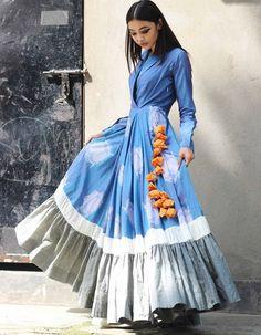 Blue Shawl Collar Ruffled Hem Long Flared Kurta