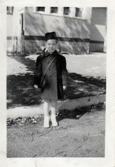 Vintage Photo Cute Little Girl Purse Coat Hat