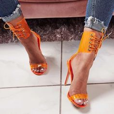 Aneikeh Gladiator Transparent PVC Peep Toe Lace Up High Heel Sandals Sexy Dress Heels for Women Ladies Stiletto Heel Summer Shoe Lace Up High Heels, Open Toe High Heels, Lace Up Sandals, Womens High Heels, Ankle Strap Sandals, Heeled Sandals, Gladiator Heels, Sandals Outfit, Women Sandals