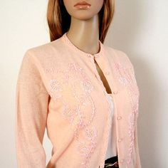 1950s 1960s Sweater / 50s 60s Beaded Cardigan by LookAgainVintage, $67.00