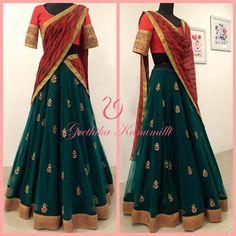 21 Half Saree Color Combinations That You Didnt Think of Earlier Half Saree Lehenga, Lehnga Dress, Anarkali, Lehenga Blouse, Indian Lehenga, Bridal Lehenga, Half Saree Designs, Lehenga Designs, Saree Blouse Designs