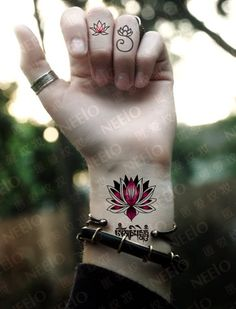 Lotus Sanskrit temporary tattoos for men women by Coolfashion4u