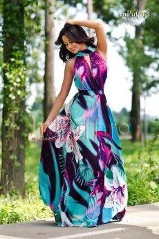 Rochie lunga eleganta cu imprimeu floral