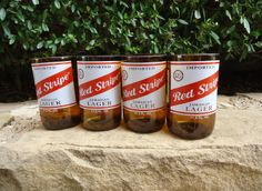 Recycled Red Stripe Beer Bottle Glasses  Set by ConversationGlass, $30.00